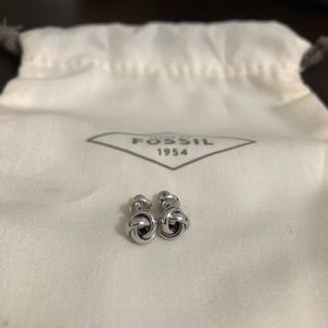 Fossil Twisted Knot Stainless Steel Stud Earrings